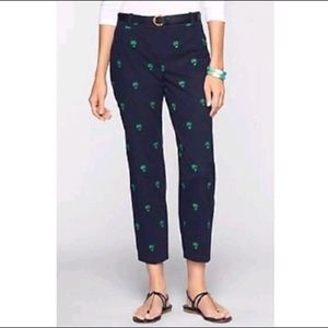 Talbots Palm Tree Tropical Embroidered Capri Pant